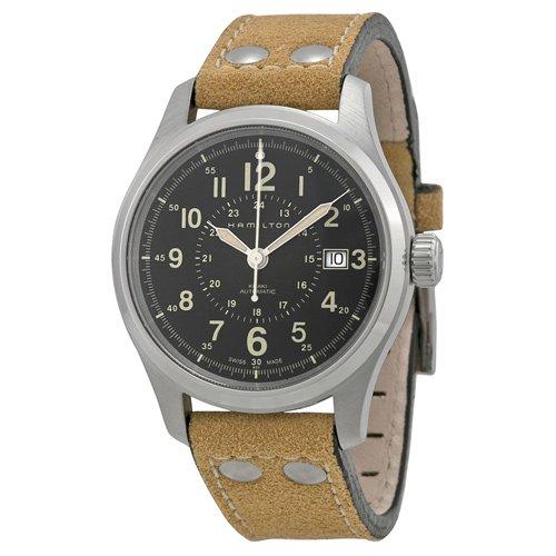 ハミルトン 時計 カーキオフィサー H70595593 ブラック×ブラウン