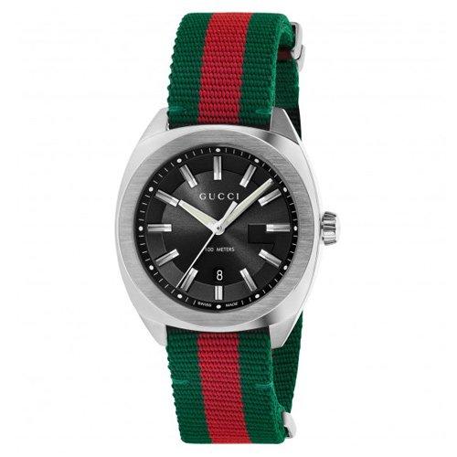 グッチ 時計 GG2570 YA142305 ミディアム ブラックダイアル×ツートンナイロンベルト