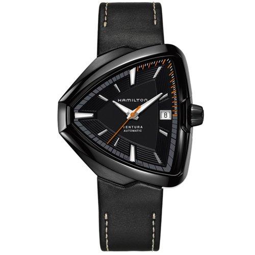 ハミルトン 時計 ベンチュラ エルヴィス80 H24585731 オートマチック ブラックダイアル×ブラックレザーベ…