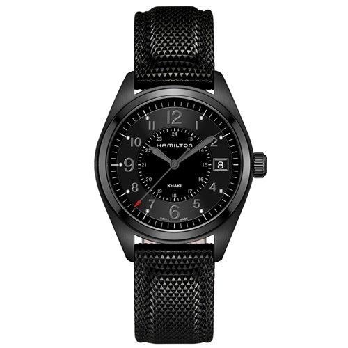 ハミルトン 時計 カーキ フィールド H68401735 オールブラック ブラックダイアル×ブラックラバーベ…