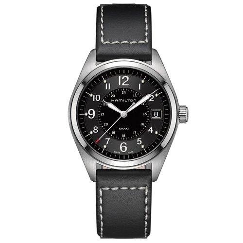 ハミルトン 時計 カーキ フィールド H68551733 クォーツ ブラックダイアル×ブラックレザーベルト