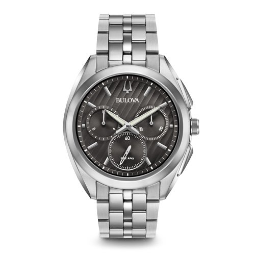 ブローバ 時計 カーブ ドレス 96A186 グレーダイアル×ステンレスベルト
