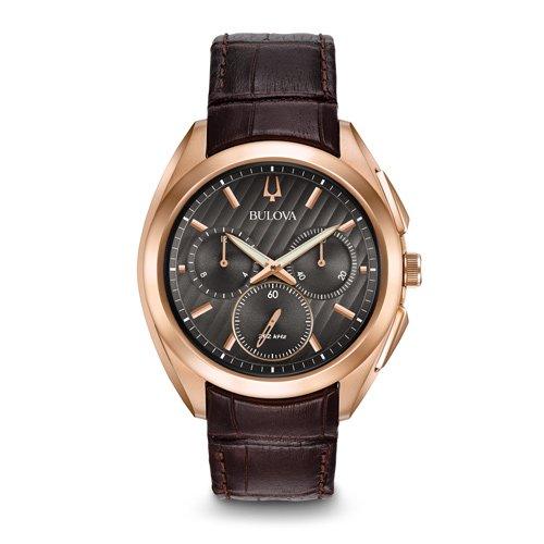 ブローバ 時計 カーブ ドレス 97A124 グレーダイアル×ブラウンレザーベルトベルト