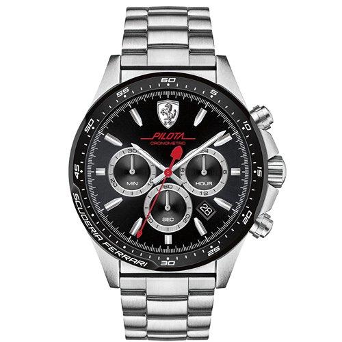 スクーデリア・フェラーリ/Scuderia Ferrari/時計/ピロータ/0830393/ブラックダイアル×ステンレスベルト
