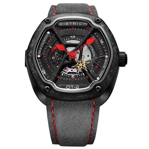 ディートリヒ/Dietrich1969/腕時計/ORGANIC TIME/OT-2 FORGED CARBON/メンズ/スイスメイド/ブラック×レッド