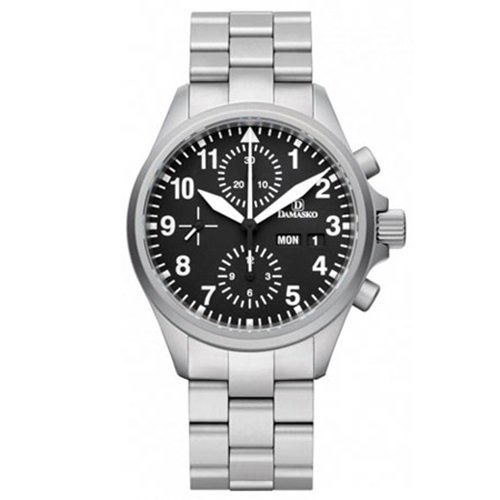 ダマスコ/Damasko/腕時計/スポーティ/DC56 WITH BRACELET/ドイツメイド/オートマティック/クロノグラフ/ブラック×シルバー