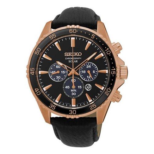 セイコー/SEIKO/逆輸入/腕時計/Core/SOLAR/ソーラー/SSC448/メンズ/クロノグラフ/ジャパンメイド/ブラック×ゴールド