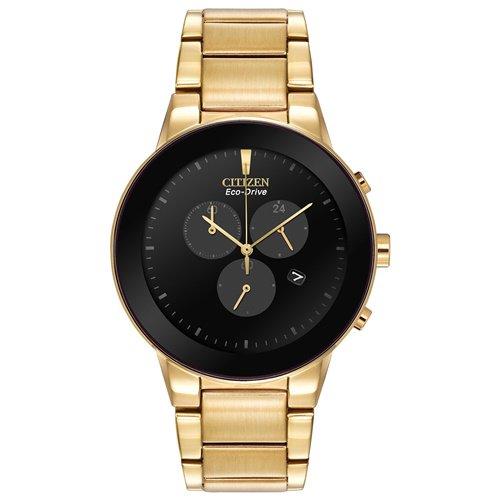 シチズン/CITIZEN/Axiom/アクシオム/腕時計/メンズ/AT2242-55E/エコドライブ/クロノグラフ/ブラック×ゴールド