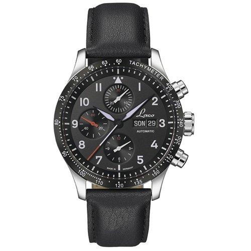 ラコ/LACO/腕時計/クロノグラフウォッチ/50自動巻き/862089/Hockenheim/ホッケンハイム/ドイツメイド/ミリタリー/ブラック
