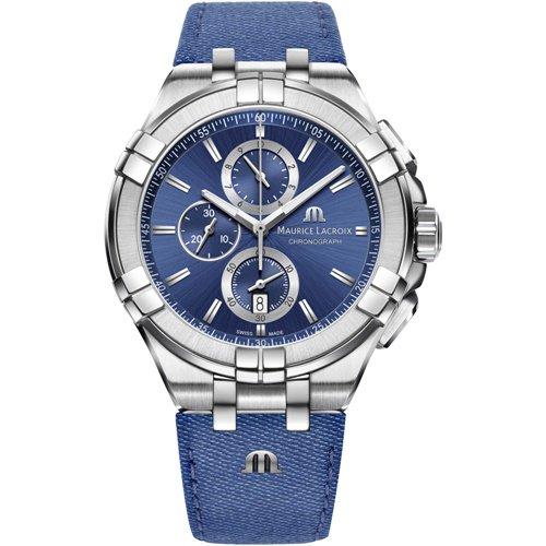 モーリスラクロア/Maurice Lacroix/腕時計/アイコン/AIKON/クロノグラフ/メンズ/AI1018-SS001-431-1/スイスメイド/ブルー/キャンバス