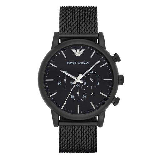 エンポリオアルマーニ/Emporio Armani/腕時計/メンズ/Dress/AR1968/クォーツ/クロノグラフ/デイトカレンダー/ブラック×ミラネーゼ