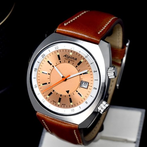 アルピナ/Alpina/腕時計/STARTIMER PILOT/HERITAGE GMT/メンズ/スイスメイド/AL-555RGS4H6/オートマチック/サーモンピンク/パイロットウォッチ
