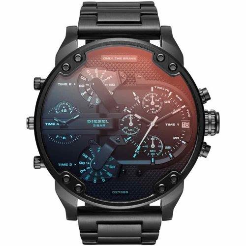 ディーゼル/Diesel/腕時計/Mr.Daddy/ミスターダディ/メンズ/DZ7395/クォーツ/クロノグラフ/オールブラック×虹色クリスタル
