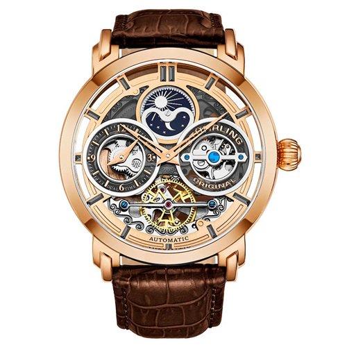 ストゥーリングオリジナル/Stuhrling Original/腕時計/Legacy/Luciano 371A/371A.04/メンズ/オートマチック/デュアルタイム/ローズゴールド