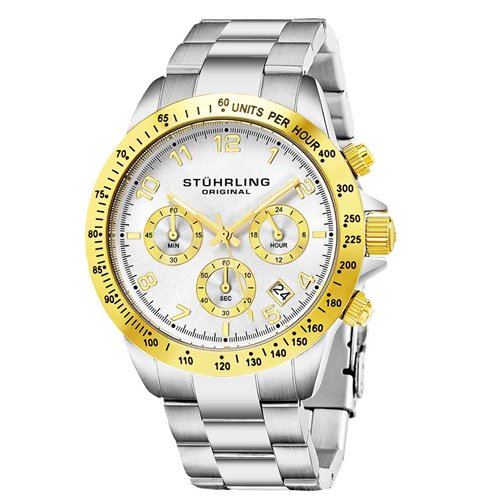 ストゥーリングオリジナル/Stuhrling Original/腕時計/Monaco/Concorso 665B/665B.03/メンズ/クォーツ/クロノグラフ/タキメーター/ゴールド