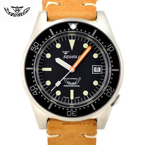 スクワーレ/Squale/時計/1521-BLK-MA/500M防水/オートマチック/スイスメイド/ダイバーズ/ブラック/ブラウンレザーベルト
