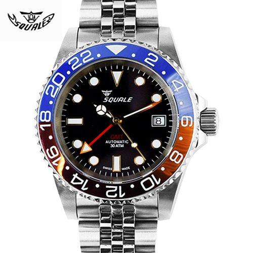 スクワーレ/Squale/時計/1545-BLUE/RED GMT/300M防水/セラミックベゼル/オートマチック/スイスメイド/ダイバーズ/ブラック