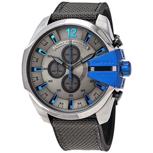 ディーゼル/Diesel/時計/メガチーフ/DZ4500/クロノグラフ/グレー×ブルーインデックス/ブラックナイロン