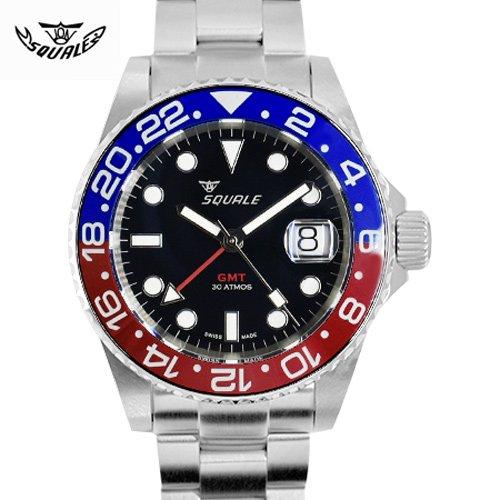 スクワーレ|Squale/時計/30 ATMOS Blue-Red GMT Ceramica/GMT/オートマチック/ブラックダイアル×ステンレスベルト