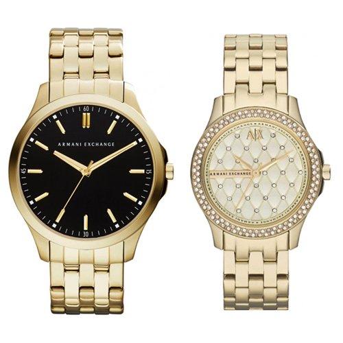アルマーニエクスチェンジ/腕時計/ペアウォッチ/AX2145/AX5216/ブラック×ゴールド/シャンパン×ゴールド
