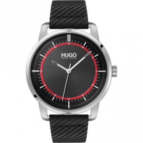 ヒューゴボス/腕時計/メンズ/Reveal|リビール/1530098/ブラック×ブラックレザーベルト