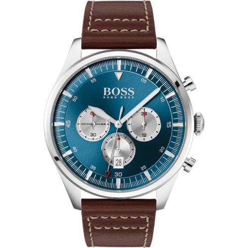 ヒューゴボス/腕時計/メンズ/Pioneer|パイオニア/1513709/クロノグラフ/カレンダー/ブルー×ブラウンレザーベルト