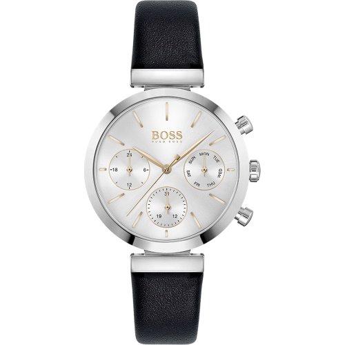 ヒューゴボス/腕時計/レディース/Flawless|フローレス/1502528/クロノグラフ/デイデイト/ブラック×ブラックレザーベルト