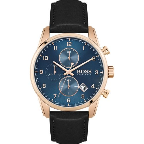 ヒューゴボス/腕時計/メンズ/Skymaster スカイマスター/1513783/クロノグラフ/カレンダー/ブルー×ブラックレザーベルト