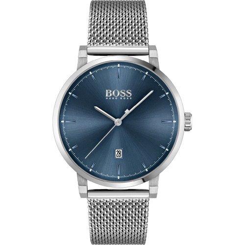ヒューゴボス/腕時計/メンズ/Confidence コンフィデンス/1513809/カレンダー/ブルー×シルバーミラネーゼブレスレット