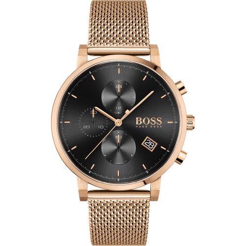 ヒューゴボス/腕時計/メンズ/Integrity インテグリティ/1513808/クロノグラフ/カレンダー/ブラック×ローズゴールドミラネーゼブレスレット