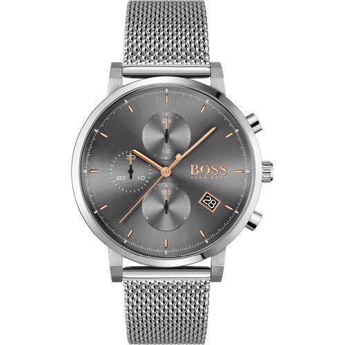 ヒューゴボス/腕時計/メンズ/Integrity インテグリティ/1513807/クロノグラフ/カレンダー/グレー×シルバーミラネーゼブレスレット