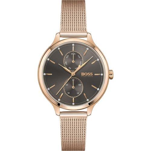 ヒューゴボス/腕時計/レディース/Purity|ピュアリティ/1502536/グレー×ローズゴールドミラネーゼブレスレット