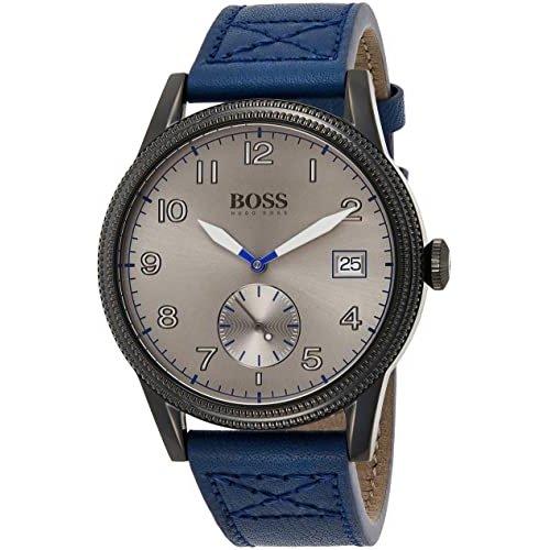 ヒューゴボス/腕時計/メンズ/Legacy レガシー/1513684/カレンダー/グレー×ブルーレザーベルト