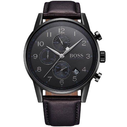 ヒューゴボス/腕時計/メンズ/Navigator ナビゲーター/1513497/クロノグラフ/カレンダー/ブラック×ブラックレザーベルト