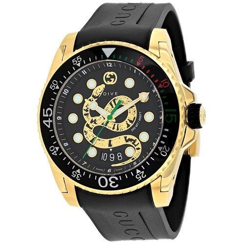 グッチ/腕時計/メンズ/Dive|ダイブ/YA136219/カレンダー/ブラック×ブラックラバーベルト