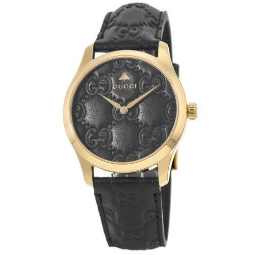 グッチ/腕時計/レディース/G-Timeless|G-タイムレス/YA1264034A/ブラック×ブラック型押しレザーベルト