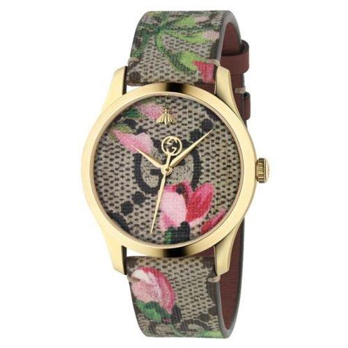 グッチ/腕時計/レディース/G-Timeless|G-タイムレス/YA1264038A/ピンクプリント×ピンクフラワーキャンバスストラップベルト
