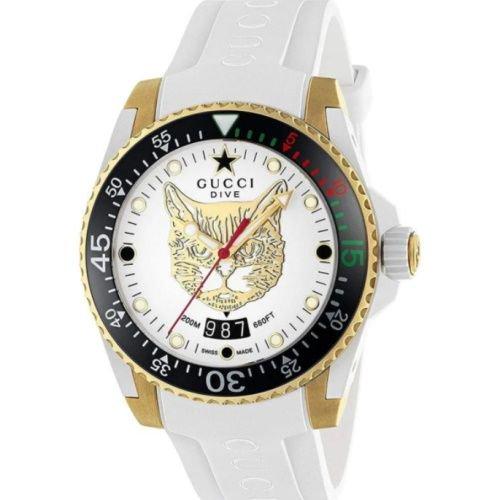 グッチ/腕時計/メンズ/Dive|ダイブ/YA136322/20気圧防水/カレンダー/ホワイト×ホワイトラバーベルト
