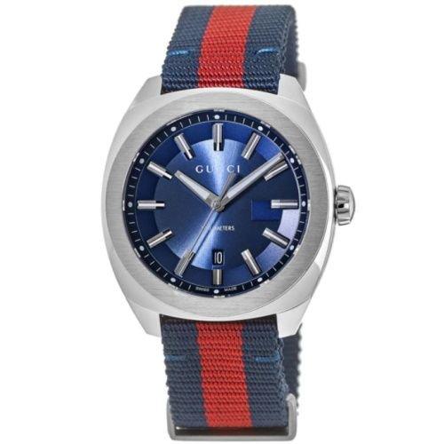 グッチ/腕時計/メンズ/GG2570|GG2570/YA142304/10気圧防水/カレンダー/ブルー×ブルーレッドブルーナイロンベルト