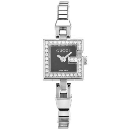 グッチ/腕時計/レディース/101|101/YA102540/ダイヤモンド/ブラック×シルバーステンレスベルト