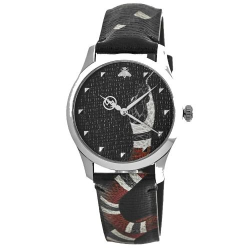 グッチ/腕時計/メンズ/G-Timeless|G-タイムレス/YA1264007A/ブラック×ブラックレザーベルト