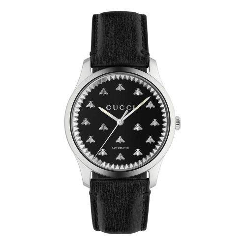 グッチ/腕時計/メンズ/G-Timeless|G-タイムレス/YA126286/自動巻き/ブラックオニキス×ブラックカーフスキンレザーベルト