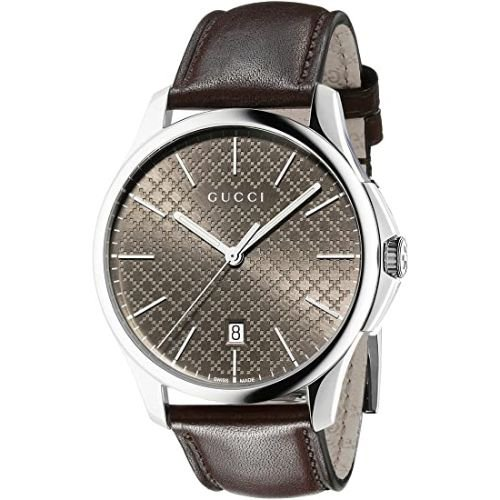 グッチ/腕時計/メンズ/G-Timeless|G-タイムレス/YA126318/カレンダー/ブラウン×ブラウンレザーベルト