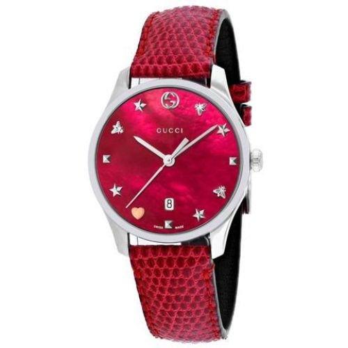 グッチ/腕時計/レディース/G-Timeless|G-タイムレス/YA1264041/カレンダー/レッドマザーオブパール×レッドリザードレザーベルト