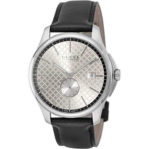 グッチ/腕時計/メンズ/G-Timeless|G-タイムレス/YA126313/自動巻き/シルバー×ブラックレザーベルト