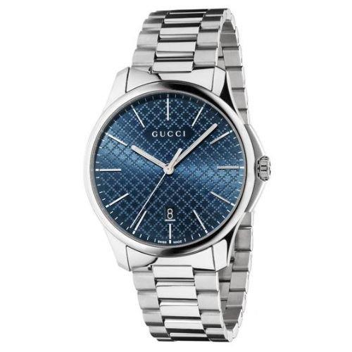 グッチ/腕時計/メンズ/G-Timeless|G-タイムレス/YA126316/カレンダー/ブルー×シルバーステンレスベルト