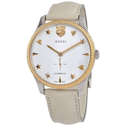 グッチ/腕時計/メンズ/G-Timeless|G-タイムレス/YA126348/自動巻き/ホワイト×ホワイトレザーベルト
