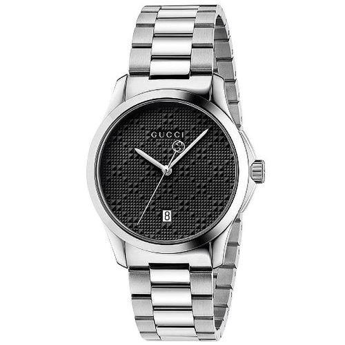 グッチ/腕時計/メンズ/G-Timeless|G-タイムレス/YA126460/カレンダー/ブラック×シルバーステンレスベルト