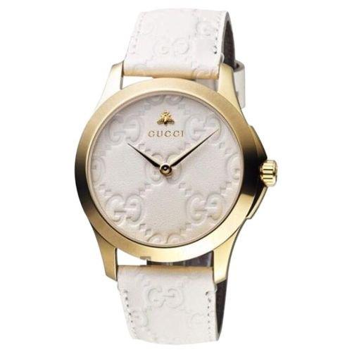 グッチ/腕時計/メンズ/G-Timeless|G-タイムレス/YA1264033A/ホワイト×ホワイトレザーベルト