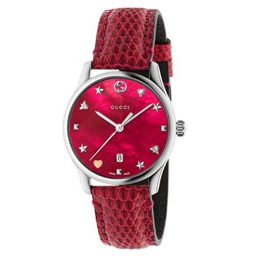 グッチ/腕時計/レディース/G-Timeless|G-タイムレス/YA126584/カレンダー/レッドマザーオブパール×レッドリザードレザーベルト